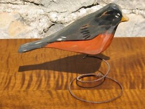 Hand Carved and Painted Wooden Folk Art Robin on Wire Spring Kitchener / Waterloo Kitchener Area image 1