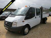 2012 61 FORD TRANSIT 2.4 TDCI 350 DOUBLE CAB TIPPER CREW CAB 44084 MILES ONLY DI