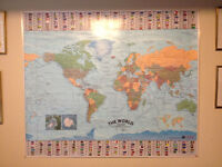 LAMINATED MAP OF THE WORLD - ONLY $50