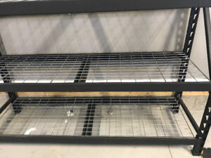 Wire mesh shelving w metal beams and ends $125 obo