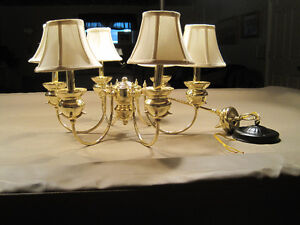 Hanging brass light fixture with 6 mini-shades
