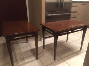 Two vintage solid wood side/end tables