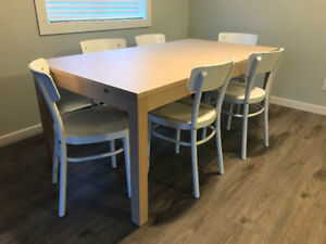 IKEA dining table and six chairs