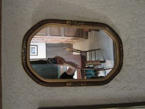 miroir antique octogonal vertical
