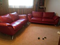 2 full sized RED leather couches LOT SALE