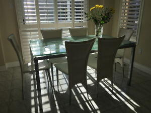 Dining Set (Glass top table with six chairs)
