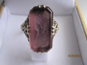 Vintage Sterling Silver Ring w/amethys glass and cameo zs 8