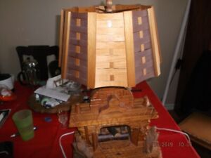 HAND MADE WOODEN CARVED LAMP