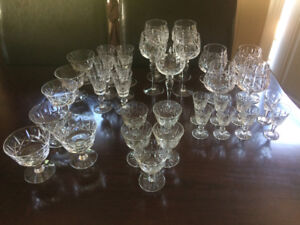 Hand Cut Hungarian Crystal. 30 plus pieces, matching pattern