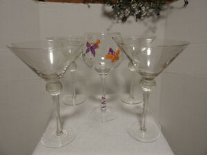 Martini and cocktail glasses