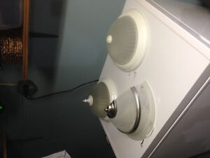 Two ceiling lights plus wall light
