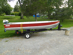 14' springbok with 1973 6hp evinrude and trailer