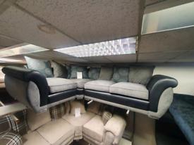 Brand new ex display corner group sofa in black and grey fabric £695