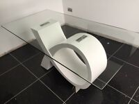 White gloss & glass 180cm modern table
