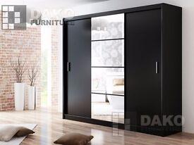 Wardrobe Dakota Black 250cm Width