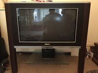 "Brown leather Phillips matchline 32"" TV"