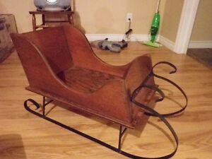 **Solid Pine Wooden Sleigh, with black wrought iron metal rails