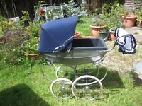 Silver Cross Coachbuilt Dolls Pram Complete With Reborn Baby Doll & Hand Crocheted Blanket
