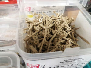 """#9 2 1/2"""" and 3"""" Tan Deck Screws  2 packages of 100 for $5.00"""