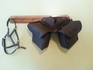 saddle bags for horse with a halter