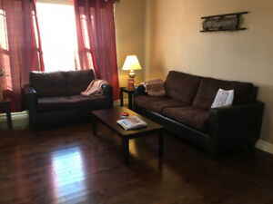 Living room set - couch, love seat, two end tables, coffee table
