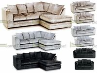 **UP TO 5 YEAR WARRANTY!!** Arabian Luxury Crushed Velvet Corner Sofa or 3 and 2 Set- SAME DAY!