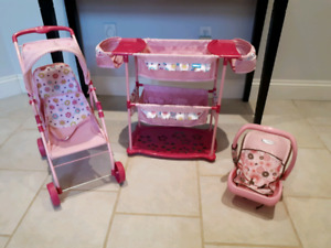 Doll set- bunk bed, double stroller, car seat