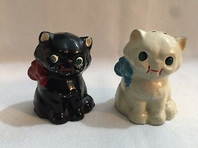 Vintage Cast Cat Black and White Salt and Pepper Shakers