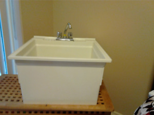 Like New White 24 inch wide Laundry Tub and Taps