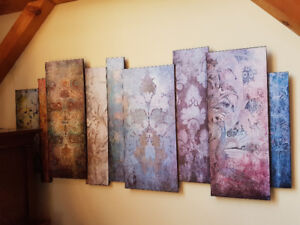 Large Paneled Art Piece - Multi-color prints dry mounted on wood