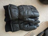 Ladies padded insulated leather gloves