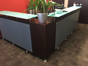 RECEPTION STATION AND 3 DRAWER HAWORTH LATERAL FILES