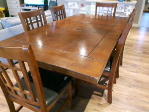 Large dining table with leaf.