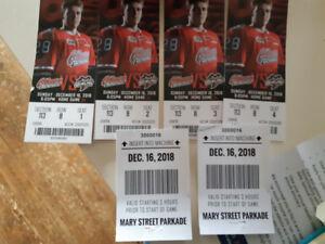 oshawa generals 4 tickets + 2 parking passes