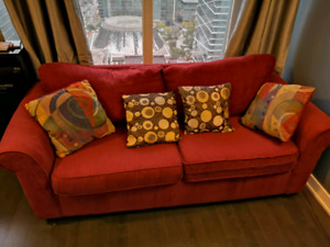 Red Fabric Two seat Sofa