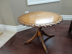 Beautiful Grained Vintage Brass Clawfoot Table w/Scalloped Edge Kitchener / Waterloo Kitchener Area image 1