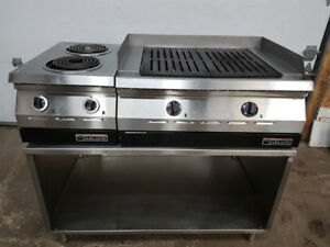 Charbroiler and Two Open Burner Electric Broilers marque Garland