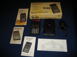Vintage TI-55 Calculator with Charger, Box, Manuals and More
