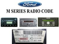 Ford M Serial Radio Unlock Code - Escort - Fiesta - Focus - Mondeo - Transit