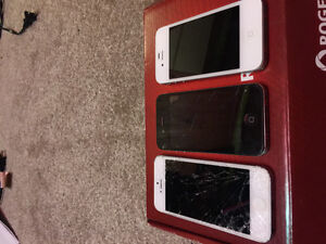 Broken iPhone 5s and 4, selling for parts