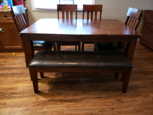 Real dark wood dining room table