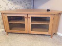 Ikea oak wood corner tv cabinet