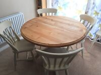 Chunky Country Pine Extendable Pine Table and 6 Chairs