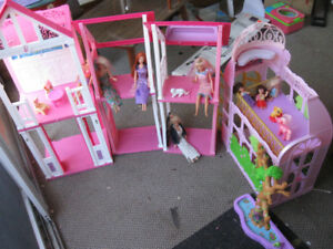 Barbie house with Barbies