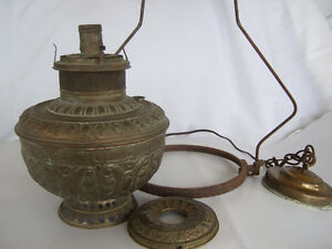 Antique Rochester Brass oil lamp electrified with hanger, chain