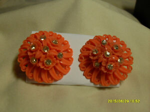 4. Vintage Clipon Earrings - Orange multi stone round