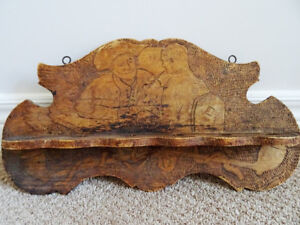chip carved PIPE HOLDER Churchwarden Colonial HANGING folk art