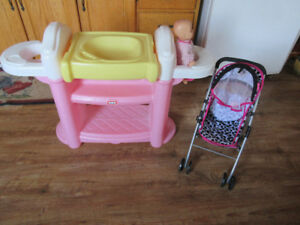 doll nursery and stroller