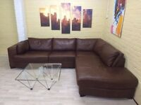 Deluxe Brown Leather Corner Sofa
