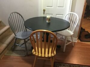 free delivery- solid wood dining table and 3 chairs